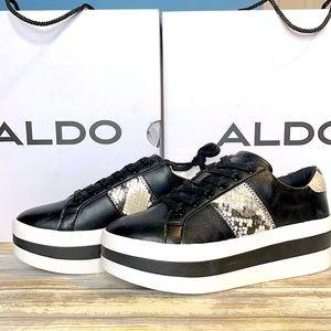 NEW Aldo Black Snakeskin Elriodia Sneakers